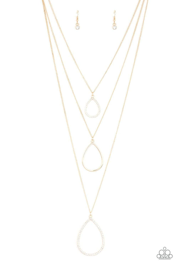 Paparazzi Accessories Jewelry Necklaces Paparazzi Accessories-MakeThe World Sparkle-Gold Necklace