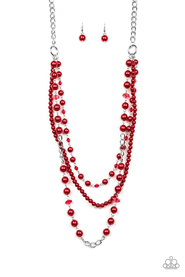 Paparazzi Accessories Jewelry Necklaces Paparazzi Accessories-New York City Chic-Red Necklace