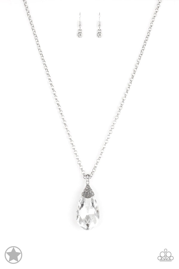 Jazzi Jewelz Boutique-Spellbinding Sparkle-Blockbuster-White Teardrop Pendant Silver Necklace and Earring Set