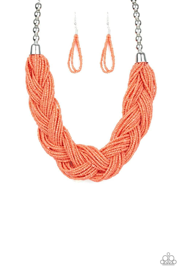 Paparazzi Accessories Jewelry Necklaces Paparazzi Accessories-The Great Outback-Orange Seed Bead Necklace and Earring Set