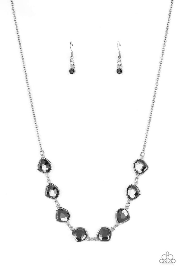 Jazzi Jewelz Boutique-The Imperfectionist-Smoky Rhinestone Silver Chain Necklace and Earring Set
