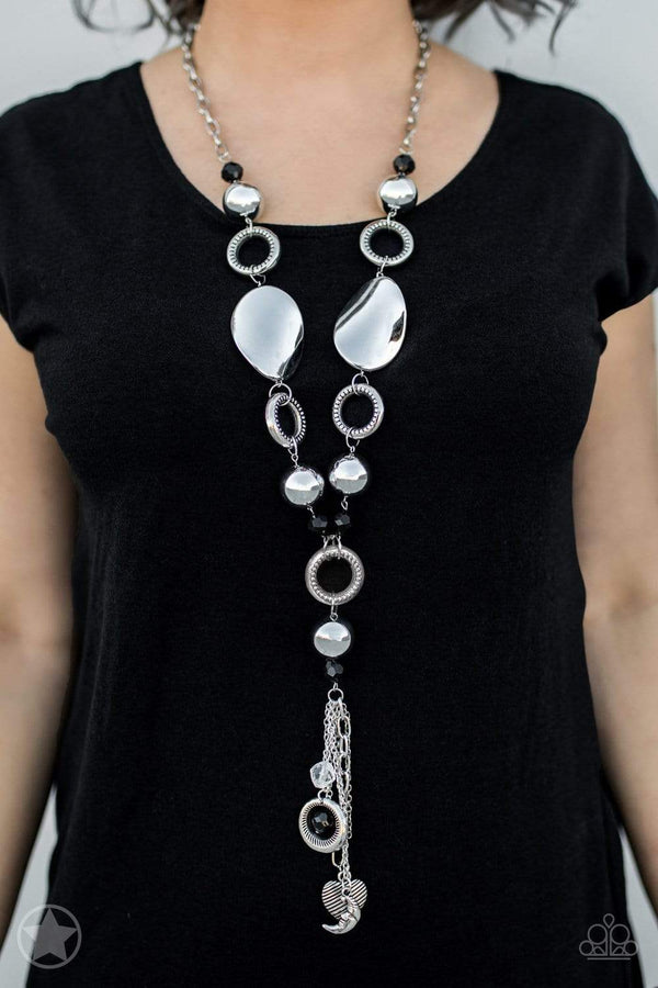 Paparazzi Accessories Jewelry Necklaces Paparazzi Accessories-Total Eclipse Of The Heart-Long Silver Necklace Set