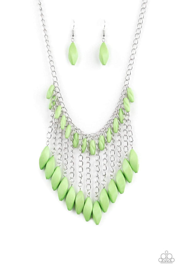 Paparazzi Accessories Jewelry Necklaces Paparazzi Accessories-Venturous Vibes-Green Necklace