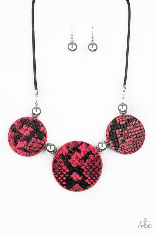 Paparazzi Accessories Jewelry Necklaces Paparazzi Accessories-Viper Pit-Pink Python Leather Necklace and Earring Set