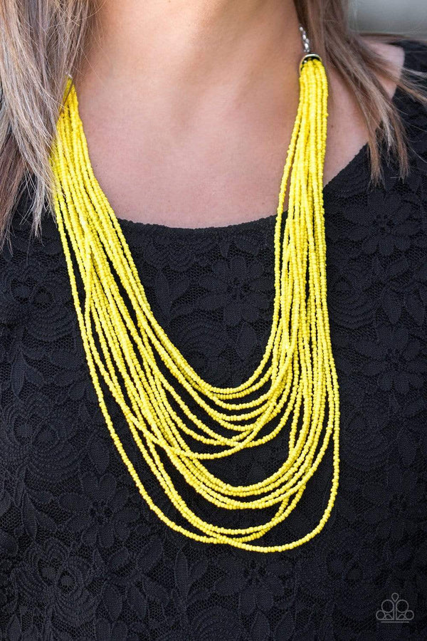 Jazzi Jewelz Boutique-Peacefully Pacific Yellow Seed Bead Necklace and Earring Set