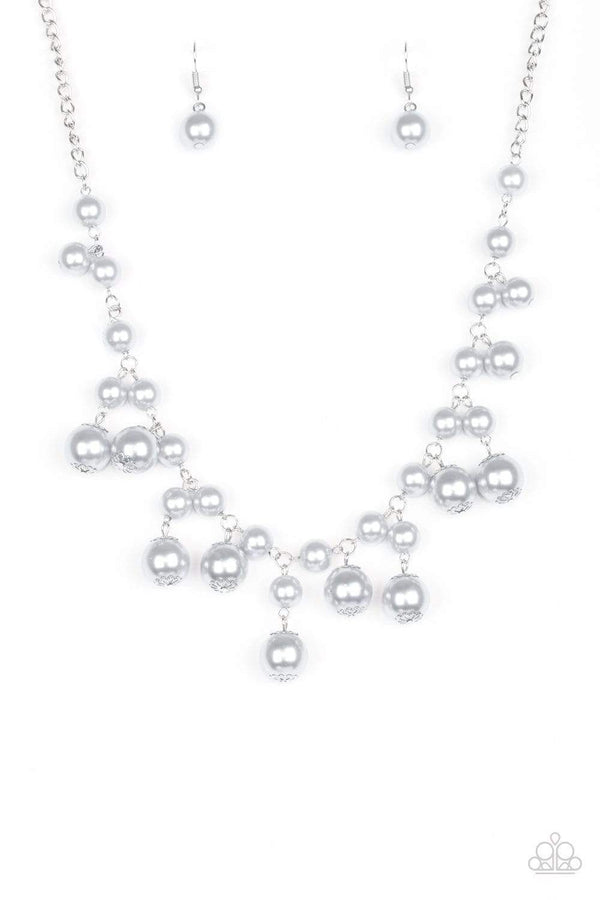 Jazzi Jewelz Boutique-Soon To Be Mrs.-Silver Pearl Fringe Necklace and Earring Set