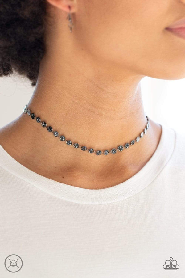 Jazzi Jewelz Boutique by Raven-Gunmetal Disc Choker Necklace and Earring Set