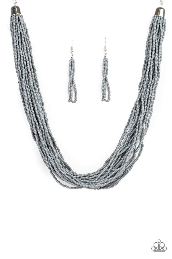 Jazzi Jewelz Boutique-The Show Must Go On-Silver Seed Bead Necklace and Earring Set
