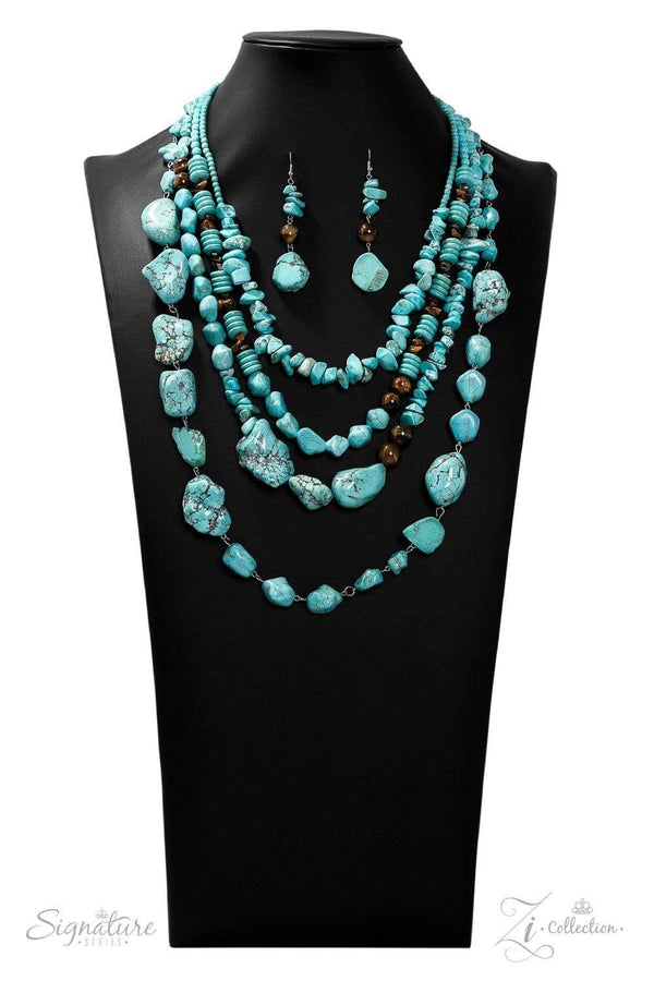 Paparazzi Accessories Jewelry Necklaces Zi Collection-The Monica-Turquoise Statement Necklace