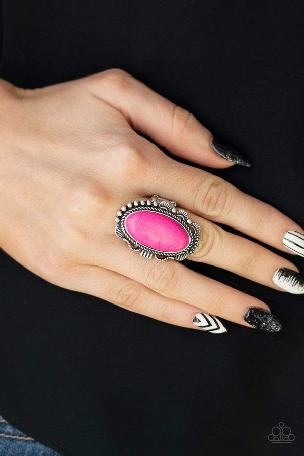 Jazzi Jewelz Boutique-Open Range-Pink Stone Silver Band Ring