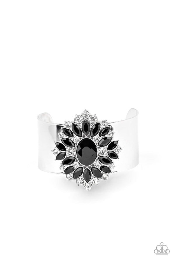 Jazzi Jewelz Boutique-The Fashionmonger-Black & White Rhinestone Silver Cuff Bracelet