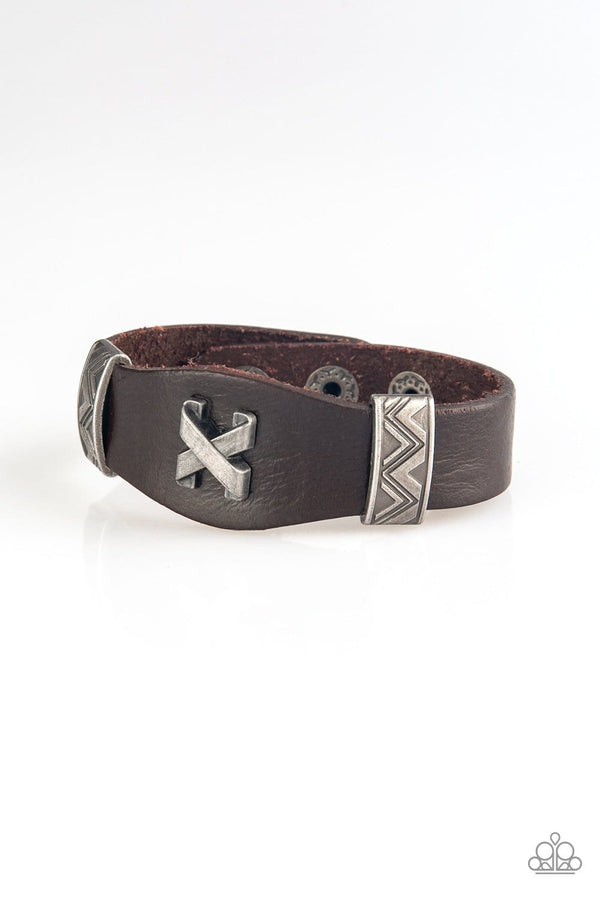 Jazzi Jewelz Boutique-Tread Carefully-Brown Leather Metallic Accent Snap Bracelet