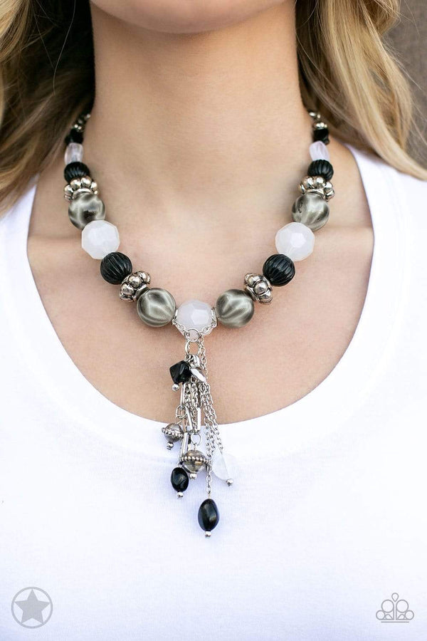 Jazzi Jewelz boutique-Break A Leg-Black & White Beaded Silver Chain Necklace and Earring Set