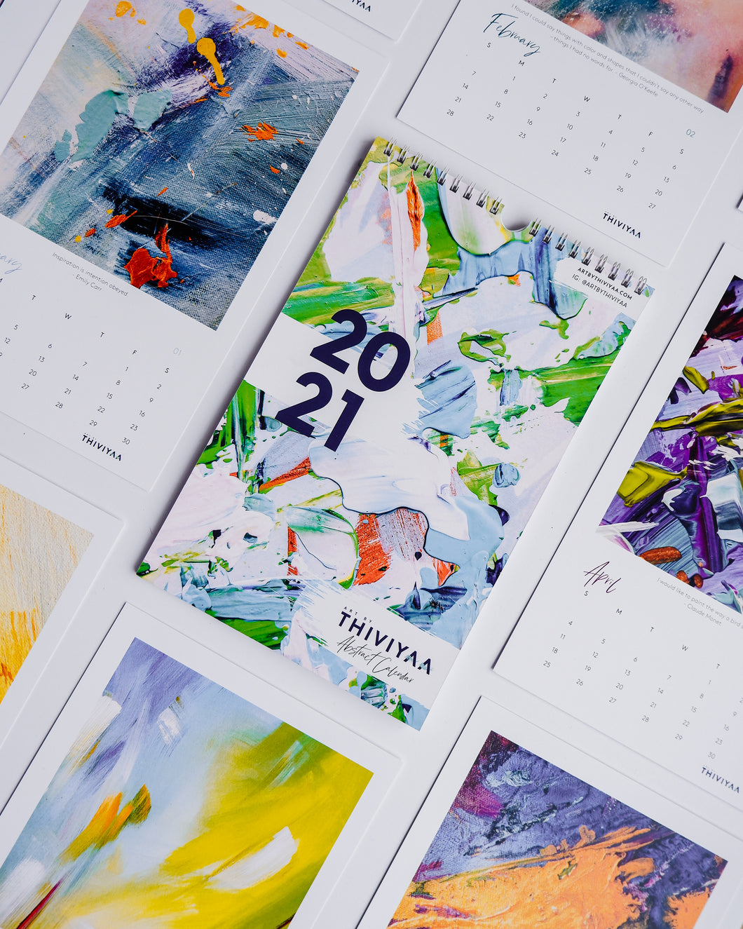 2021 Art Calendar | Art By Thiviyaa Abstract Calendar | Holiday Gift | Office Art Prints