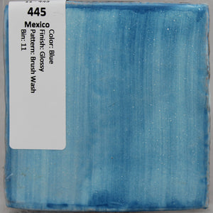 "MMT-445 Vintage 4"" Ceramic Wall Tile Mexico Blue Patterns Brush Wash Glossy"