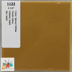 "MMT-1122 Vintage 4 1/4"" Ceramic 1 pc Wall Tile Spruce Yellow Tan Glossy"
