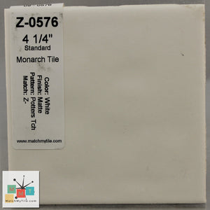"MMT-576 Vintage 4 1/4"" Ceramic 1 pc Wall Tile Monarch White Potters Matte"