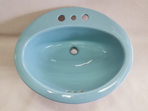 S-1991 Vintage Ceramic Light Blue Sink Oval Drop In Gloss