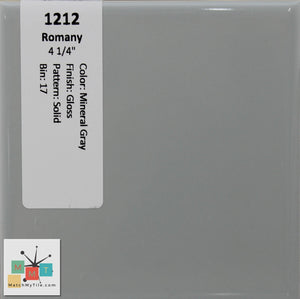 "MMT-1212 Vintage 4 1/4"" Ceramic 1 pc Wall Tile Romany Mineral Gray Glossy"