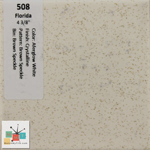 "MMT-508 Vintage 4 3/8"" Ceramic 1 pc Wall Tile FT White Brown Speckle Crystalline"