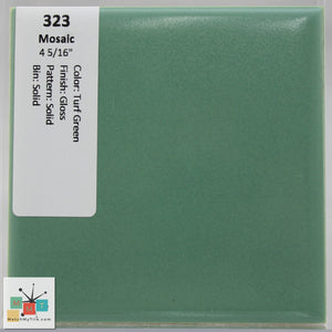 "MMT-323 Vintage 4 5/16"" Ceramic 1 pc Wall Tile Mosaic Turf Green Glossy"