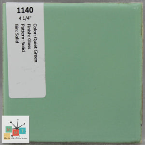 "MMT-1140 Vintage 4 1/4"" Ceramic 1 pc Wall Tile Quiet Green Glossy"