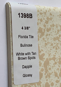 "MMT-1398B Vintage 4 3/8"" Ceramic 1 pc Tile FT White Dapple Tan Glossy Bullnose"