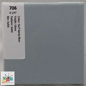 "MMT-706 Vintage 4 1/4"" Ceramic 1 pc Wall Tile Surf Spray Blue Glossy"