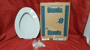 TS-43 NOS Olsonite Toilet Seat LId Tender Grey 94 Elongated Bowl Top Mount Hinge