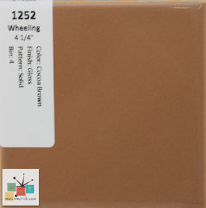 "MMT-1252 Vintage 4 1/4"" Ceramic 1 pc Wall Tile Wheeling Cocoa Brown Glossy"