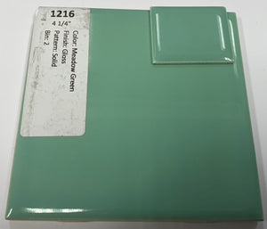 "MMT-1216 Vintage 4 1/4"" Ceramic 1 pc Wall Tile Meadow Green Glossy"