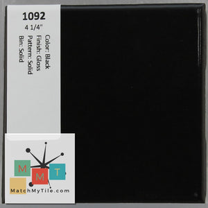 "MMT-1092 Vintage 4 1/4"" Ceramic 1 pc Wall Tile Black Glossy"