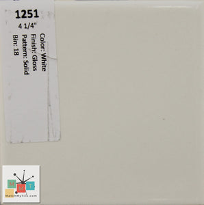 "MMT-1251 Vintage 4 1/4"" Ceramic 1 pc Wall Tile White Glossy"