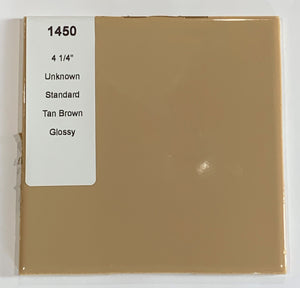 "MMT-1450 Vintage 4 1/4"" Ceramic 1 pc Wall Tile Tan Brown Solid Glossy"