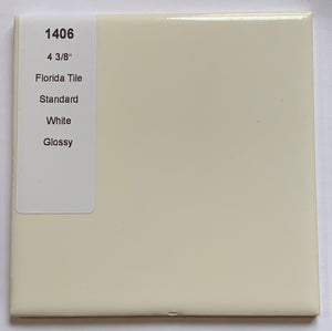 "MMT-1406 Vintage 4 3/8"" Ceramic 1 pc Florida Wall Tile White Solid Glossy"