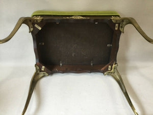 I-1686 Cast Brass Stool Bench Hollywood Regency Italy Stiletto Mid Century Mod