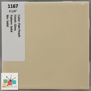 "MMT-1167 Vintage 4 1/4"" Ceramic 1 pc Wall Tile Pale Peach Glossy"