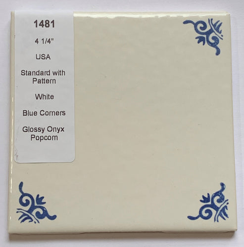 MMT-1481 Vintage 1 pc 4 1/4 White Textured Wall Tile Blue Pattern Corner Popcorn