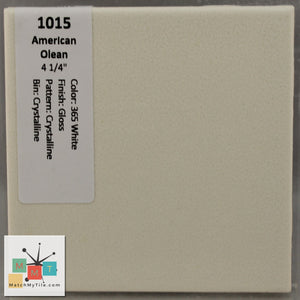 "MMT-1015ST Vintage 4 1/4"" Ceramic 1 pc Tile AO 365 White Crystal Matte Scored 3"