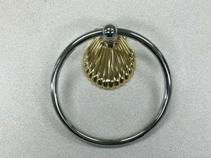 "BA-198 Vintage Towel Ring 5.75"" Diameter Silver Ring with Golden Shell Design"