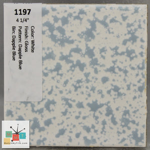 "MMT-1197 Vintage 4 1/4"" Ceramic 1 pc Wall Tile White Dapple Blue Glossy"