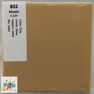 "MMT-802 Vintage 4 3/8"" Ceramic 1 pc Wall Tile Mosaic Clay Tan Glossy"