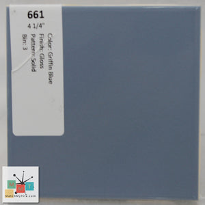"MMT-661 Vintage 4 1/4"" Ceramic 1 pc Wall Tile Griffin Blue Glossy"