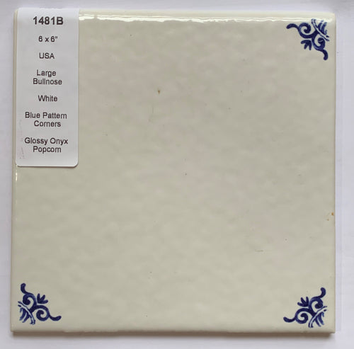 MMT-1481B Vintage 1 pc 6x6 White Textured Wall Tile Blue Pattern Corner Bullnose