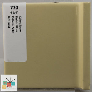 "MMT-770 Vintage 4 1/4"" Ceramic 1 pc Wall Tile Straw Yellow Glossy"
