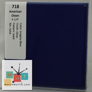 "MMT-718 Vintage 4 1/4"" Ceramic 1 pc Wall Tile AO Insignia Blue Glossy"