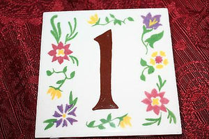 (I-262) Address Bone Tile Floral Accent 4 1/4 x 4 1/2 Lucky Number 1 USA