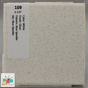 "MMT-109V Vintage 4 1/4"" Ceramic 1 pc Wall Tile White Blue Speckled Glossy Cove"