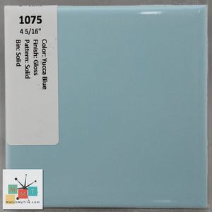 "MMT-1075 Vintage 4 5/16"" Ceramic 1 pc Wall Tile Yucca Blue Green Glossy"