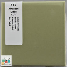 "Load image into Gallery viewer, MMT-112V Vintage 4 1/4"" Ceramic 1 pc Wall Tile AO Avocado Green Matte Cove"